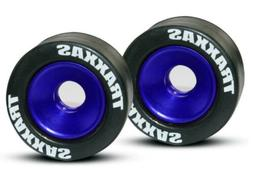 NEW Traxxas Blue Alum Wheelie Bar Wheels & Rubber Tires: Sta