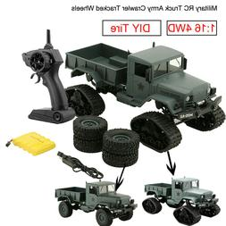 RC Military Truck Army1:16 4WD Tracked Wheels Crawler Off-Ro