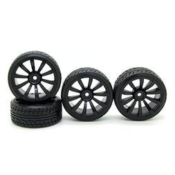 RC 1/10 Racing Drift Flat Car Twist Rubber Tires & Black 10