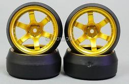 RC Car 1/10 DRIFT WHEELS TIRES Package STAGGER 0 Degree GOLD