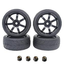 """4Pieces 1.02"""" RC On Road Tires 26mm With Wheel Rim Set 12mm"""