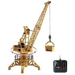 RC Wired Tower Crane Construction Vehicle Playset with Up Do