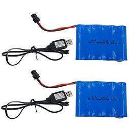 SONiKi 700mAh 6.0V Rechargeable Battery Set Ni-Cd AA for RC