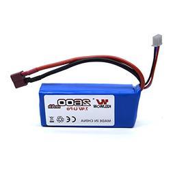 KELIWOW 7.4V 2600mAH Rechargeable Lipo Battery for 1/12 Scal
