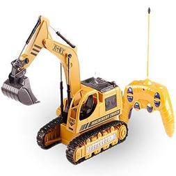 Remote Control Excavator Toy for Toddlers,8CH 2.4G RC Constr