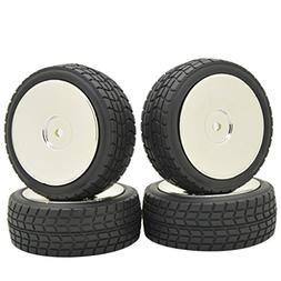Rowiz Silver 4PCS 1:10 RC Buggy Disc Front Rear Wheel Rim Ru