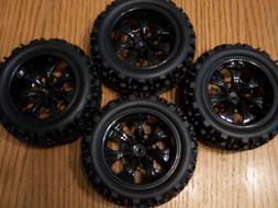 Set of 4 Redcat Racing Volcano EPX Pro Tires & Black 7 Spoke
