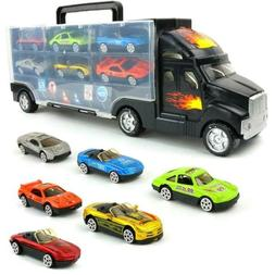 Big Mo's Toys Transport Car Carrier Truck - with 6 Stylish M