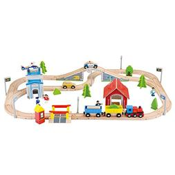 Wooka Wooden Train Set 80pcs Railway Tracks, Compatible with