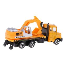Yellow Pull Back Construction Truck RC Car Vehicles Model wi